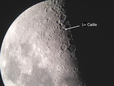 First quarter Moon with La Caille crater marked. Image Nick Lomb