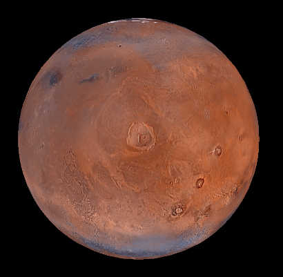 Mars centred on Olympus Mons