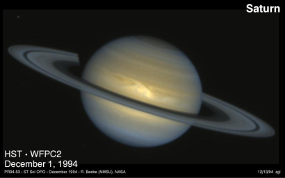 The ringed planet Saturn imaged by the Hubble Space Telescope in 1994