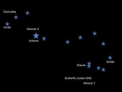 The constellation of Scorpius is overhead in the early evening during August