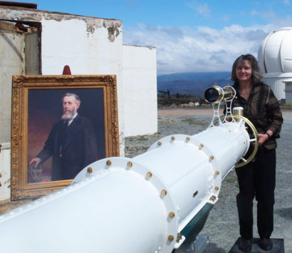 Judith Bailey, Ballarat Observatory Director, peering through the new Oddie Telescope