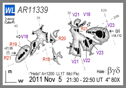 A sketch of the giant sunspot group AR11339 on the morning of 6 November 2011