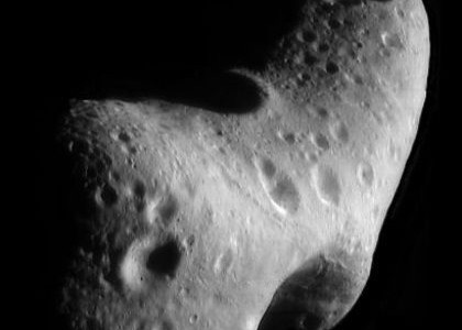 A mosaic image of 433 Eros made by the NEAR Shoemaker spacecraft on 29 February 2000 while circling the asteroid