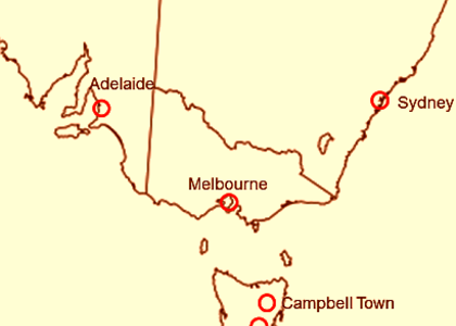 Main Australian observing stations 1874