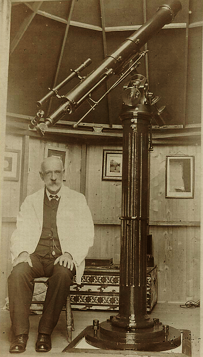William John Macdonnell with his new Parkes lens telescope_15 December 1907_Powerhouse Museum