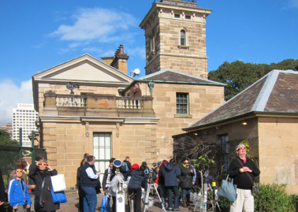 A Sydney Observatory (mostly) blue sky view of the transit of Venus