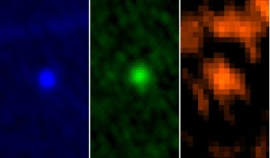 A three-colour view of 99942 Apophis taken by the Herschel infrared space telescope on about Jan 6, 2013