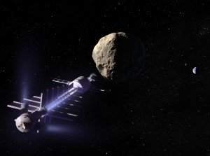 A space tractor nudging an asteroid out of Earth's way