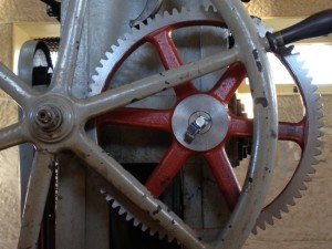 The big new red gear in Sydney Observatory's time ball mechanism, July 2013. Photo Andrew Jacob © Powerhouse Museum, Sydney.