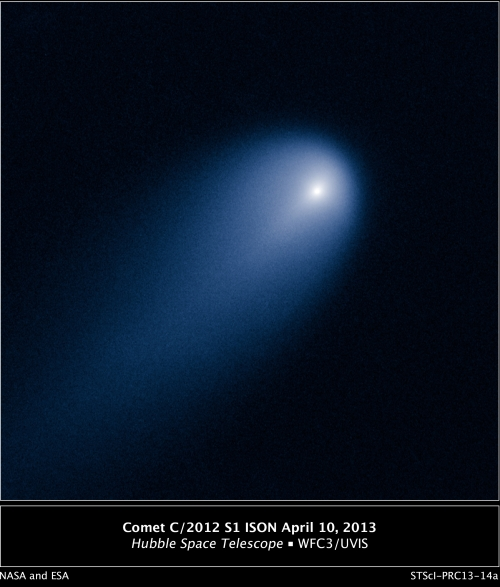The Hubble Space Telescope's view of Comet ISON on 10 April 2013