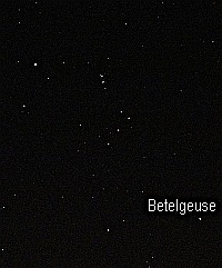 The stars of Orion with Betelgeuse labelled. Photo Nick Lomb