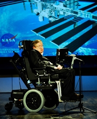 Stephen Hawking delivering a lecture in 2008. Courtesy NASA/Paul Alers