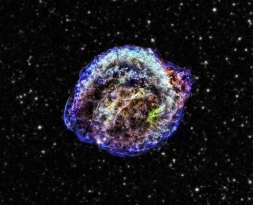 The remains of a stellar explosion that appear in Earth's sky in 1604.