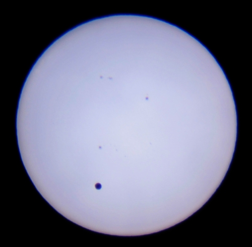 Venus transiting the Sun at the inferior conjunction of 6 June 2012. Photo Nick Lomb