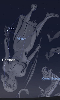 The constellation of Virgo with the position of Porrima indicated.