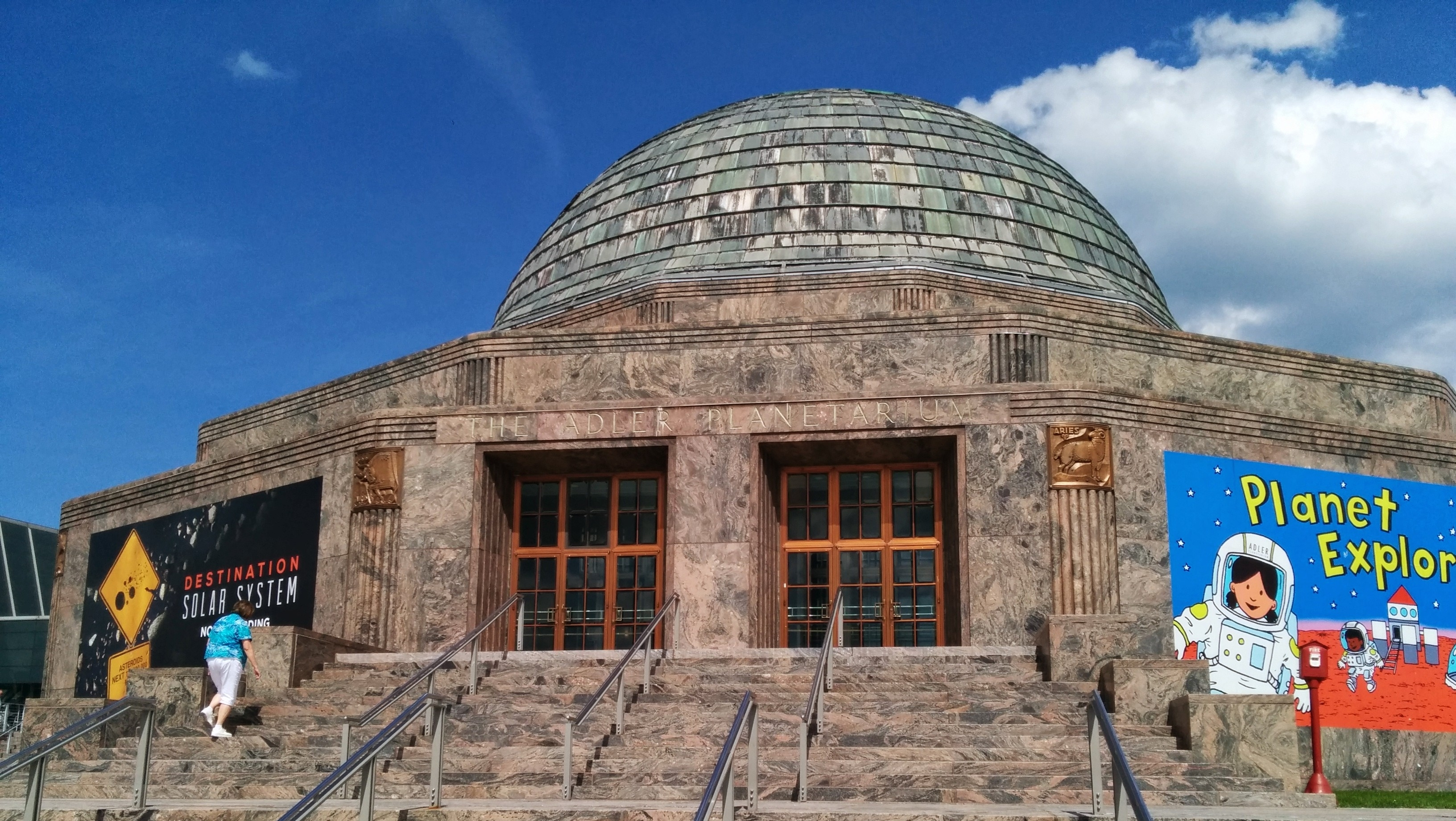 The entrance of the Adler Planetarium