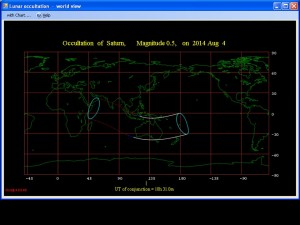 Map of 4th of August 2014 Saturn occultation visibility