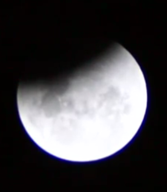 The moon late during the total lunar eclipse of 08 Oct 2014