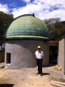 Geoff Wyatt, inspecting the dome