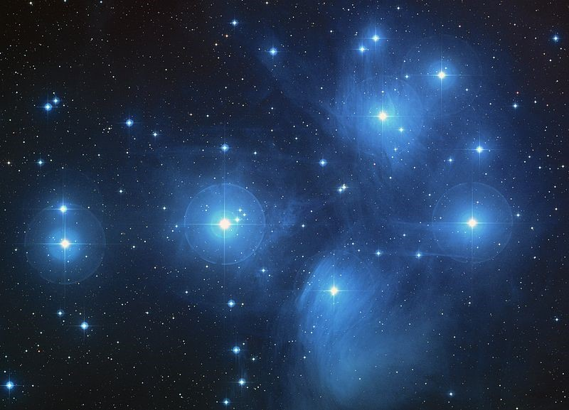 A color-composite image of the Pleiades
