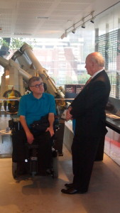 At the opening amateur astronomer Andrew James with Professor John Shine