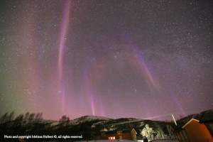 Subtle purples and yellows were a feature of the aurora on 16 March 2015.
