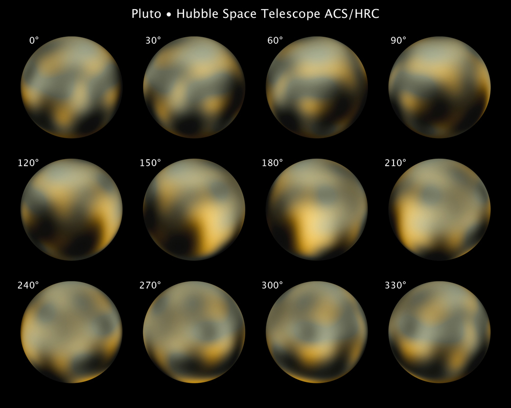 Maps of Pluto displayed at 30-degree intervals of central longitude