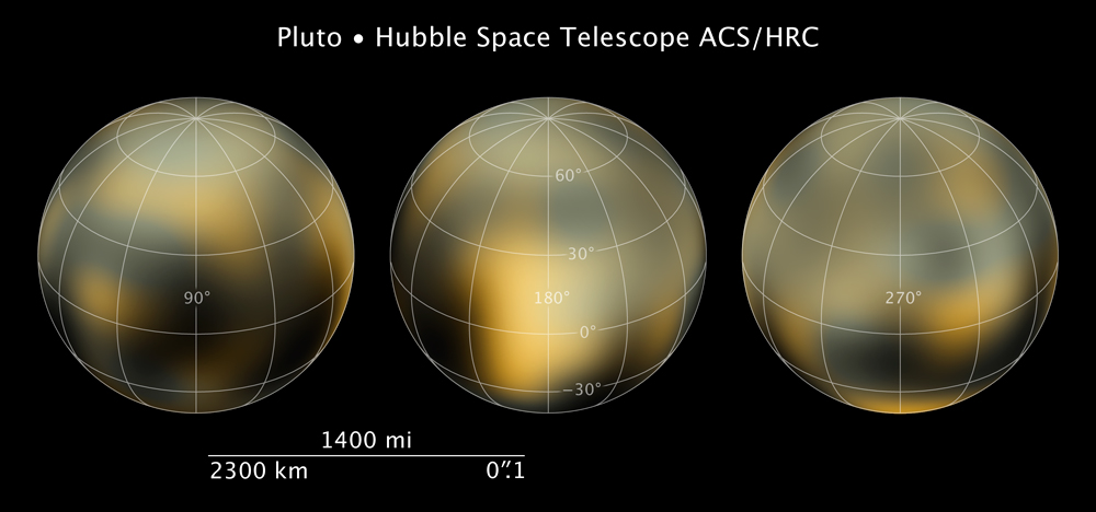 These maps of Pluto's surface were released in 2010