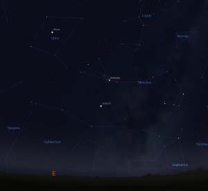 """Mars, Libra and Scorpius in the pre-dawn sky this morning. Image made with <a href="""" http://www.stellarium.org/"""">Stellarium</a>."""