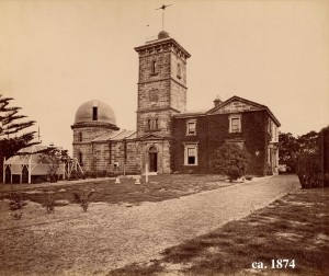 Sydney Observatory in 1874. Image courtesy of the collection of the State Library of NSW.