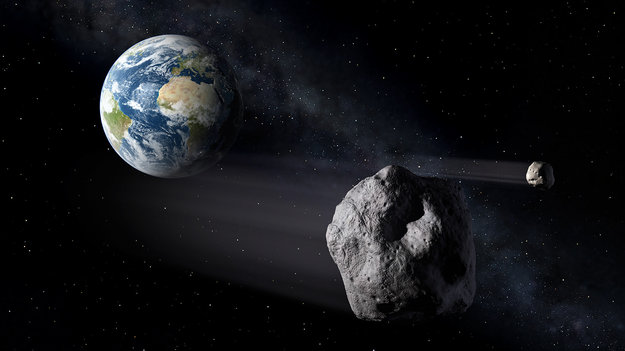 Image of the Earth from Space with two asteroids in the foreground, one large and one small, which are implied to be heading towards Earth.