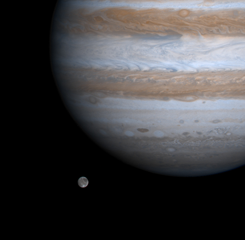 Jupiter and it's largest moon Ganymede