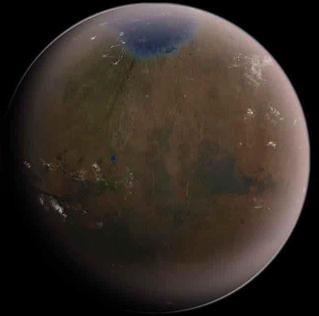The first signs of terraforming, as oceans and lakes begin to creep across the surface of Mars. Credit: SpaceX