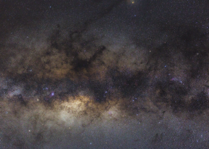 Milky Way near Scorpius showing Antares at the top and Mars lower left