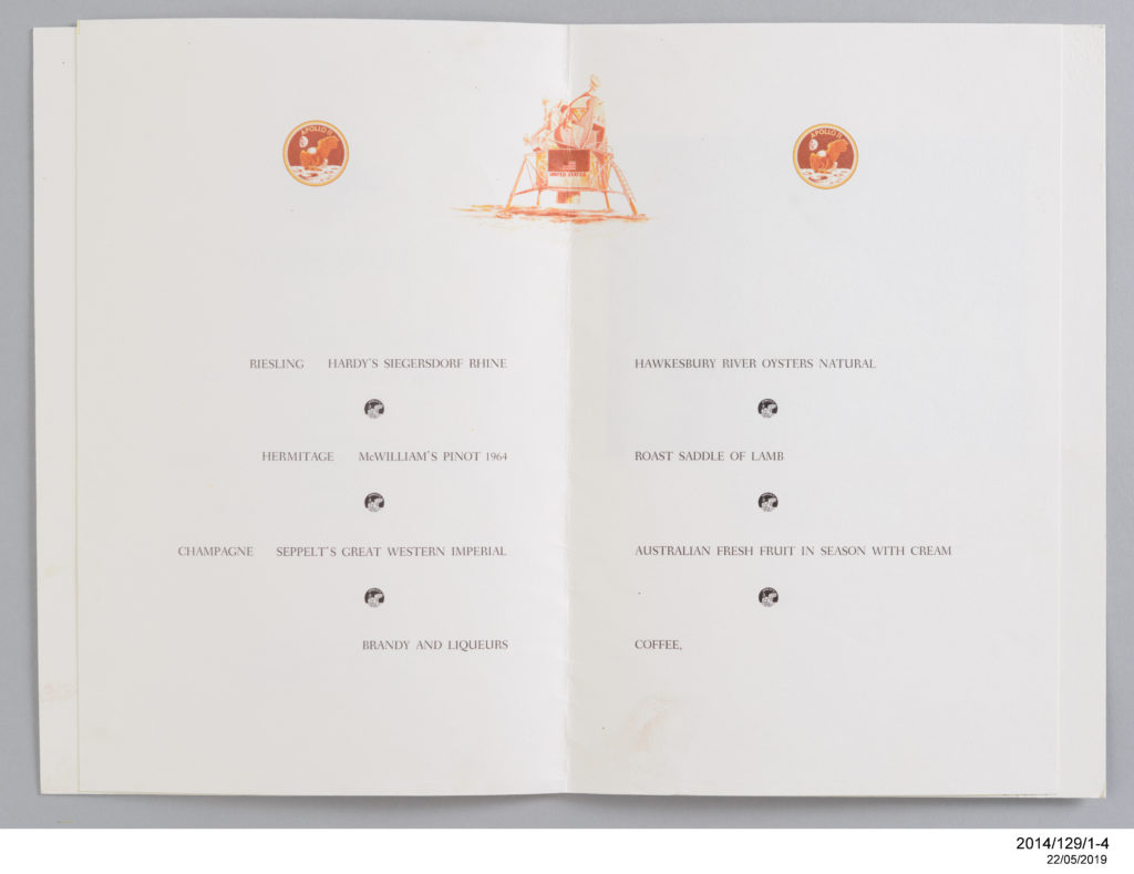 Lunch Menu for the Apollo 11 astronauts in Sydney, November 1, 1969.