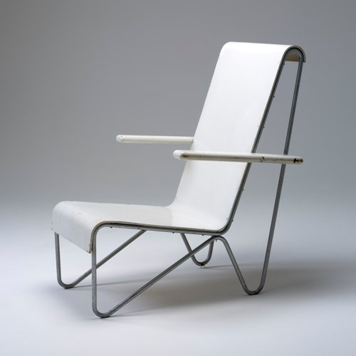 Armchair designed by Gerrit Rietveld and made in Amsterdam. Powerhouse Museum Collection.
