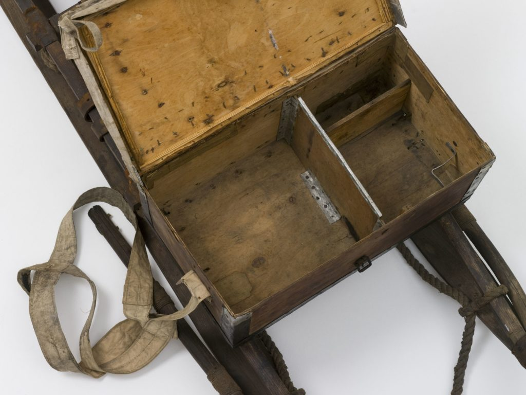 Close up image of the timber instrument box on the sledge.