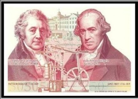 Fifty pound banknote featuring Boulton and Watt and steam engine