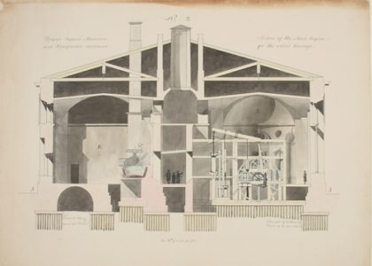 Cross section from architectural drawing of the Imperial Bank Mint in St Petersburg
