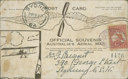 Souvenir postcard in the Powerhouse Museum's collection. This was carried on the Bleriot flight and shows an illustration of the Bleriot.