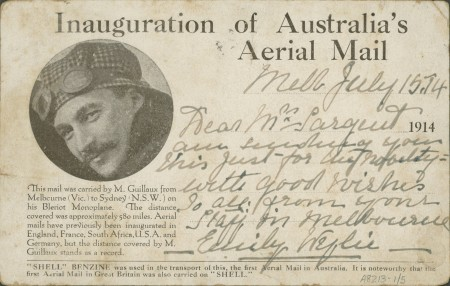 Souvenir postcard in the Powerhouse Museum's collection. This was carried on the Bleriot flight and shows a photographic reproduction of Guillaux.