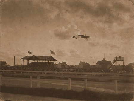 Photograph in the Powerhouse Museum's collection of Guillaux flying over Victoria Racecourse, 1914.