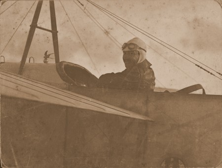 Photograph in the Powerhouse Museum's collection of Guillaux at the controls of the Bleriot, 1914.