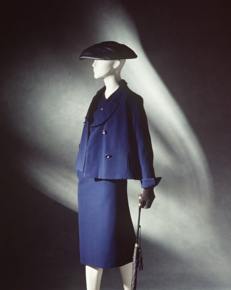 Women's suit by Christian Dior for the Spring 1950 'Vertical Line' collection