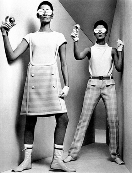 models from Courreges space age era