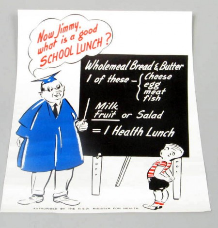 1950s School Lunch Poster, NSW Department of Health