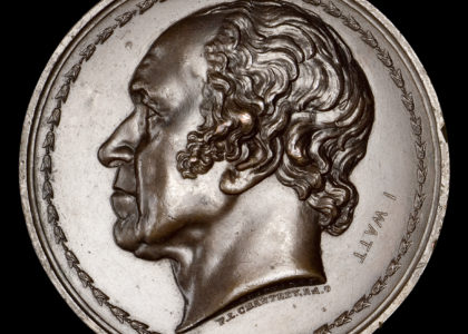 Portrait medal featuring James Watt