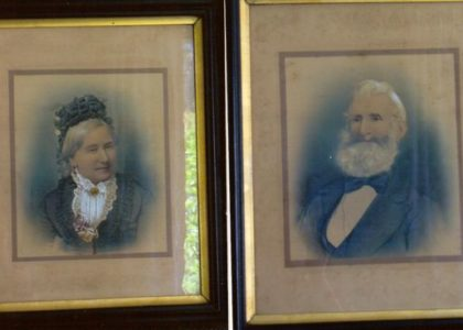 Framed portraits of William and Eliza Bayldon