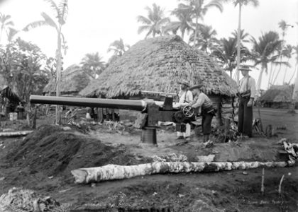 U.S. Marines with naval gun, Upolu, Samoa, 1899, published by Kerry and Co.