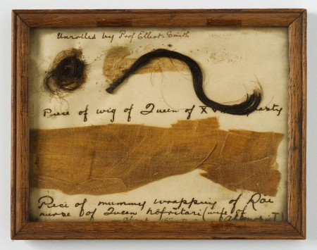Framed fragment of mummy cloth and lock of hair